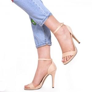 Béžové semišové dámske sandále na vysokom opätku