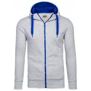 Svetlo sivá pánska bunda s kapucňou