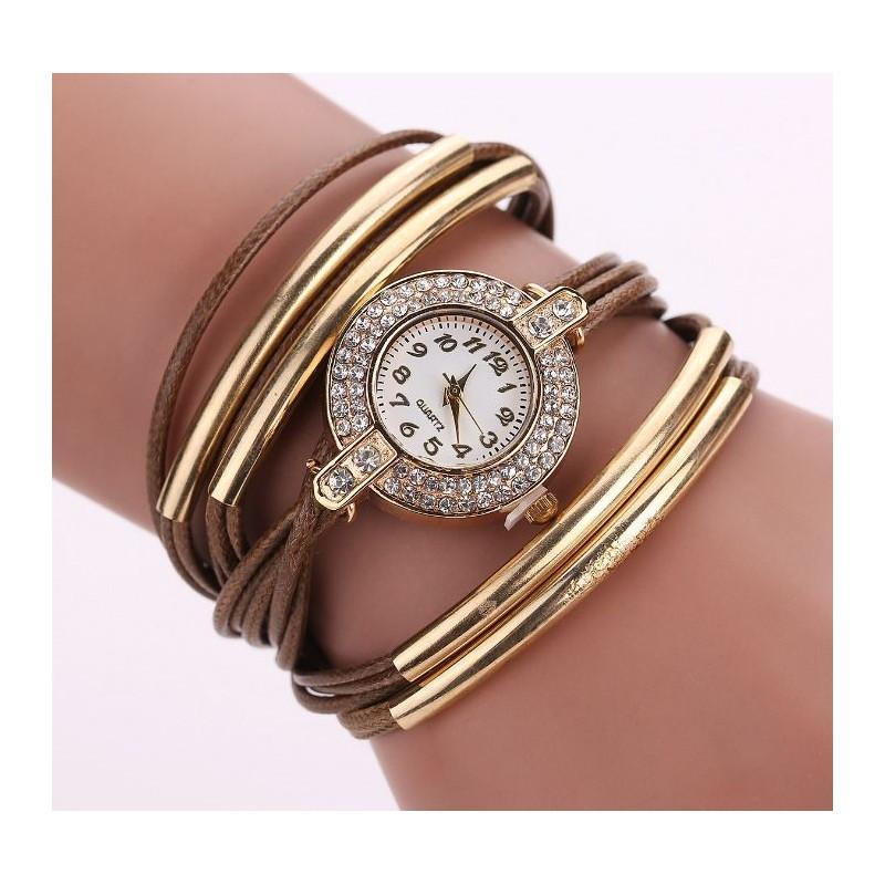 Ozdobné náramkové hodinky hnedej farby - fashionday.eu a072245d947