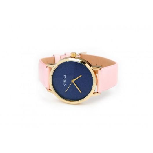Ružové dámske hodinky s koženým remienkom