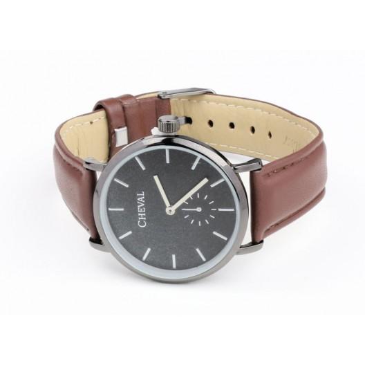 Hnedé dámske hodinky s koženým remienkom