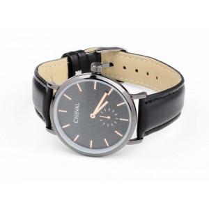 Štýlové čierne hodinky s koženým remienkom