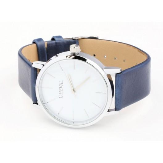 Jednoduché modré hodinky s koženým remienkom