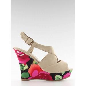 Béžové dámske sandále v kvetinovom motíve