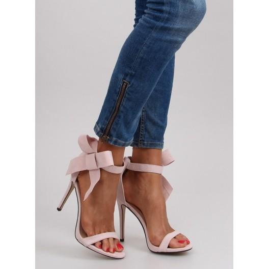 Ružové dámske sandále s ihlovým podpätkom