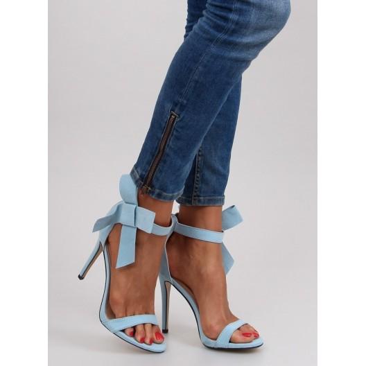 Dámske sandále v modrej farbe na vysokom podpätku
