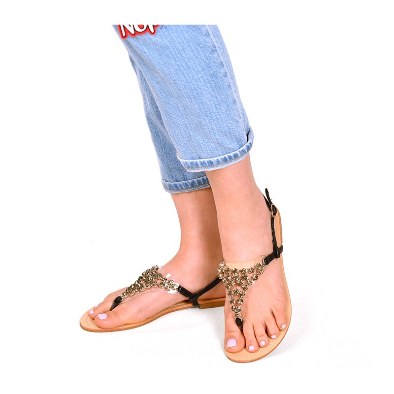 9e1102ff6848 Predchádzajúci. Čierne dámske sandále s aplikáciou kamienkov ...