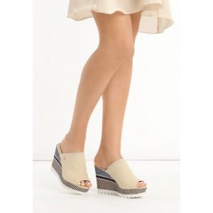 Béžové sandále pre dámy na platforme