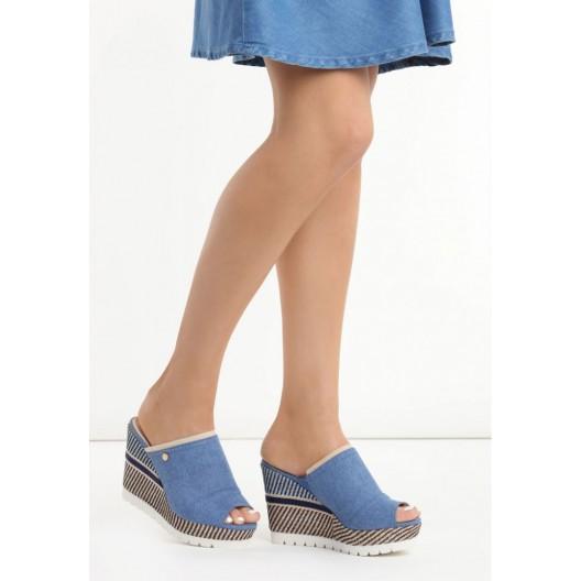Štýlové modré dámske sandále na platforme