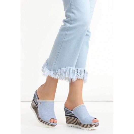 Letné svetlo modré dámske sandále na platforme