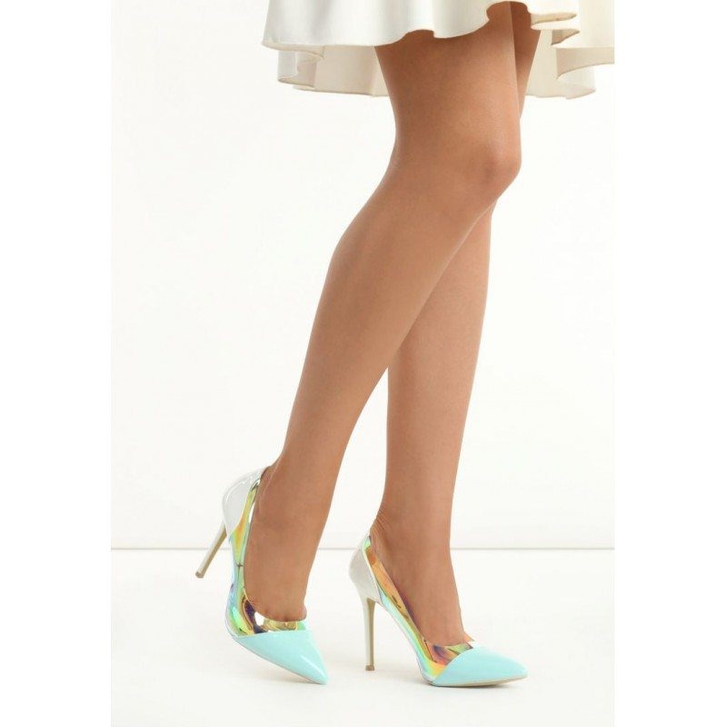 44775da4d81a Bielo modré dámske lodičky na vysokom podpätku - fashionday.eu