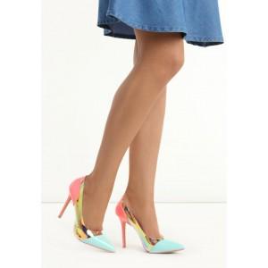 Ružovo modré dámske lodičky na vysokom podpätku