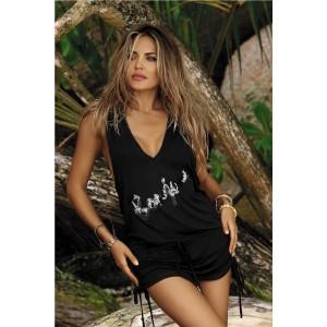 Čierne plážové šaty s nápisom