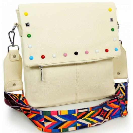 Crossbody béžová dámska kabelka so zipsom a ramienkom