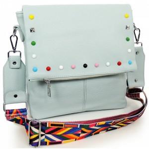 Modrá crossbody kabelka pre dámy s ozdobnými kamienkami