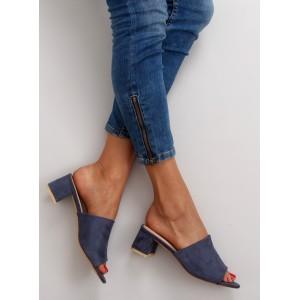 Letné dámske šľapky s otvorenou špičkou v modrej farbe