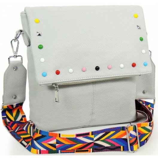 Kvalitná crossbody kabelka s ramienkom sivej farby
