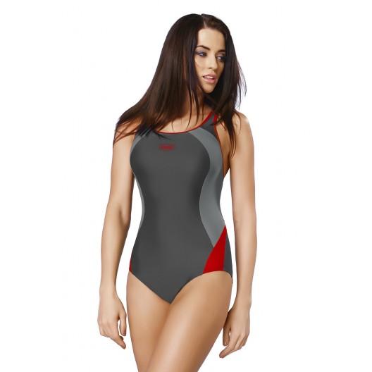 Sivé jednodielne plavky s výrezom na chrbte
