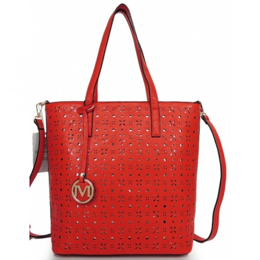Vzorovaná dámska shopper kabelka červená