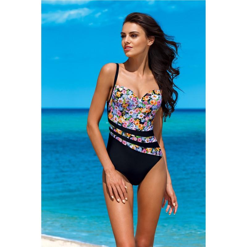 0edb66451 Čierne dámske jednodielne plavky s kvetinovým motívom - fashionday.eu