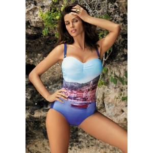 Vystužené dámske jednodielne plavky modrej farby
