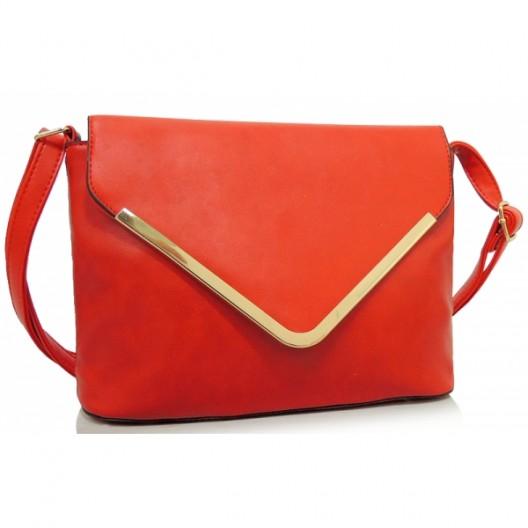 Červené dámske listové kabelky s ramienkom