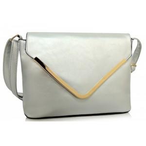 Strieborná listová kabelka s lemovaním