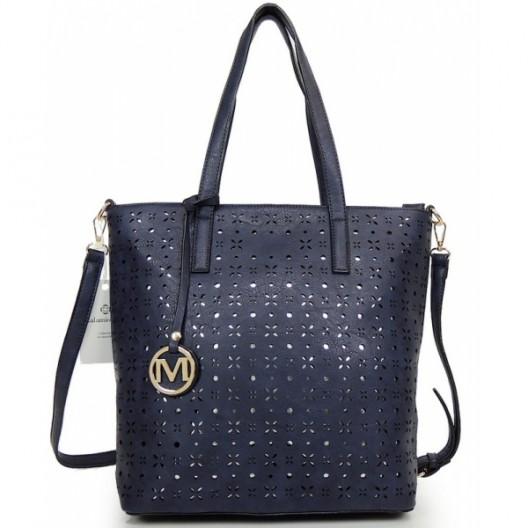 Tmavo modrá shopper kabelka pre dámy