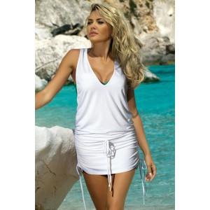 Letné plážové šaty bielej farby