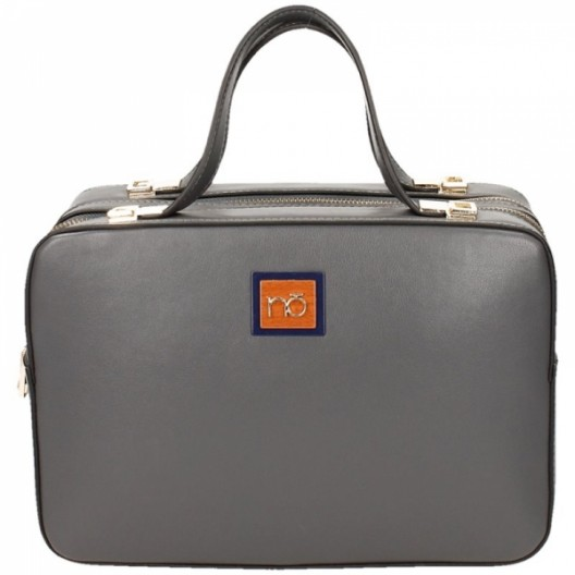 Sivá elegantná kufríková kabelka na zips