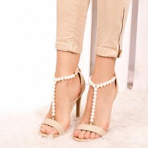 Béžové dámske sandále s korálkami