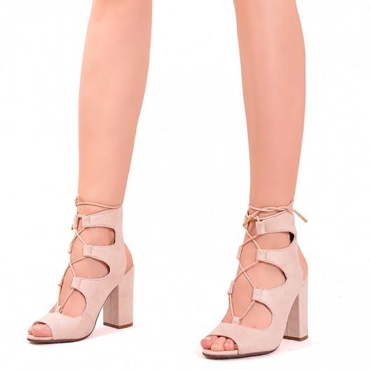 Letné béžové dámske sandále na hrubom podpätku
