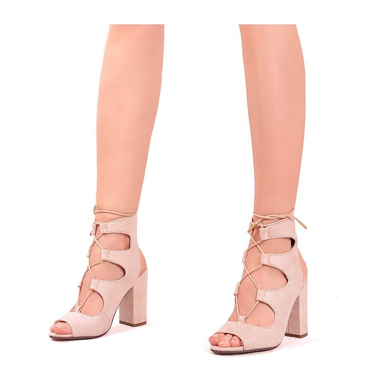 dbfb2d92c Predchádzajúci. Letné béžové dámske sandále na hrubom podpätku ...