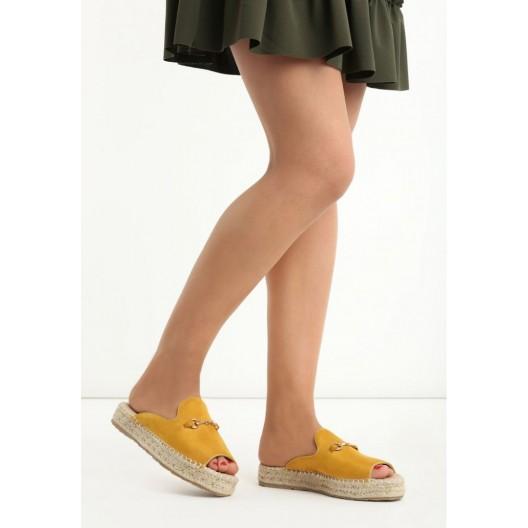 Žlté dámske šľapky s pleteným vrkočom okolo podrážky