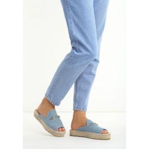 Modré dámske šľapky s príveskom