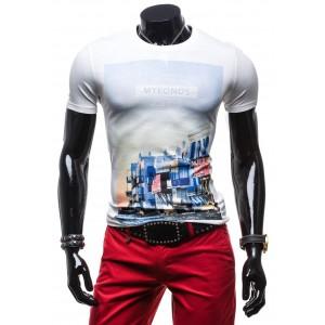 Biele tričko pre pánov s potlačou mesta