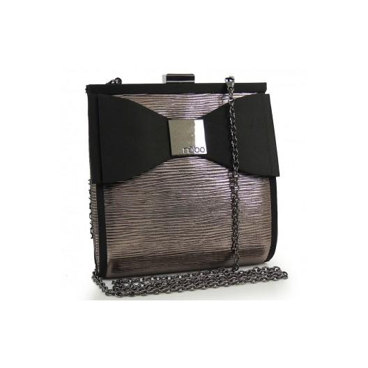 Lesklá večerná kabelka s mašľou