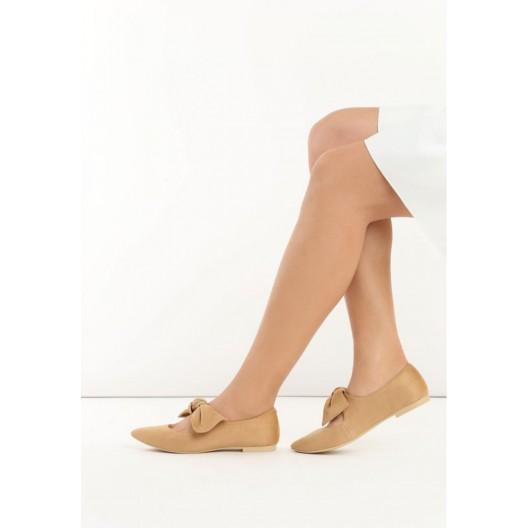 Béžove dámske semišové balerínky
