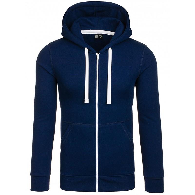 Štýlová modrá pánska mikina na zips - fashionday.eu 336e16869b2