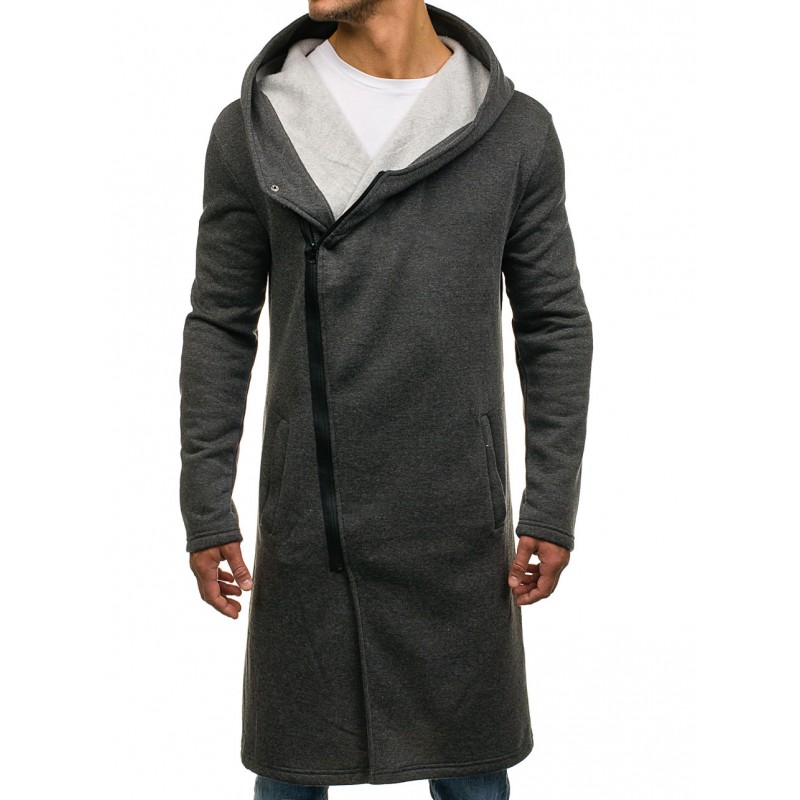 Tmavo sivá predĺžená pánska mikina s kapucňou - fashionday.eu 0d17a8f7a5c