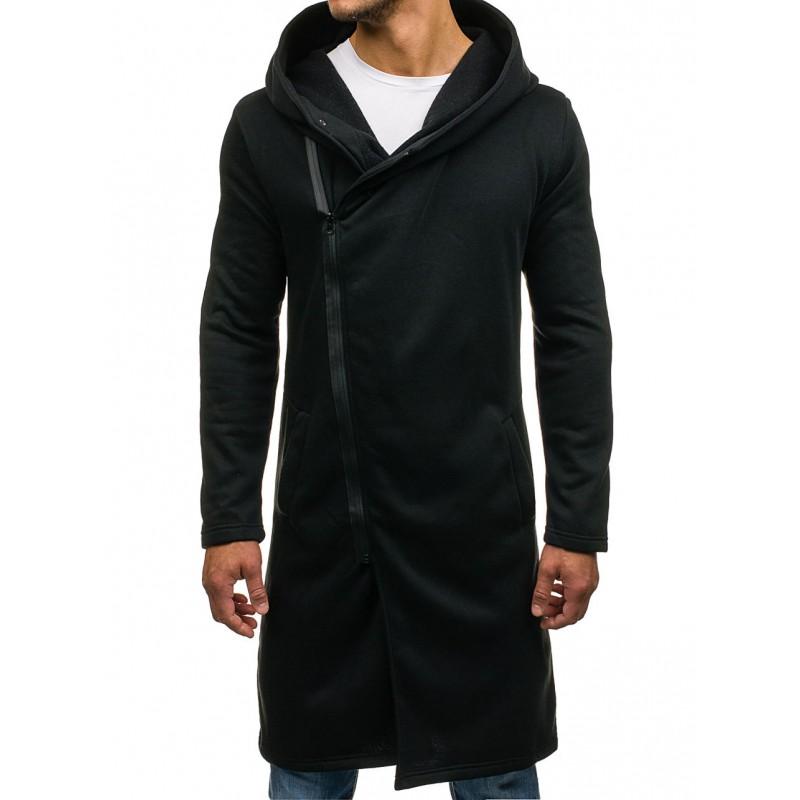 61de6b799 Predĺžené pánske mikiny s kapucňou čiernej farby - fashionday.eu