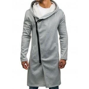 Štýlová sivá pánska mikina s kapucňou a vreckami
