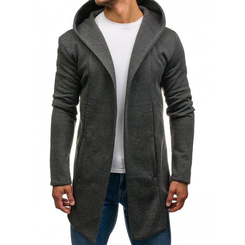 Predĺžená sivá pánska mikina s kapucňou - fashionday.eu 5af27e2c3ac