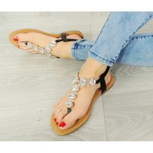 Letné čierne dámske sandále s kamienkami