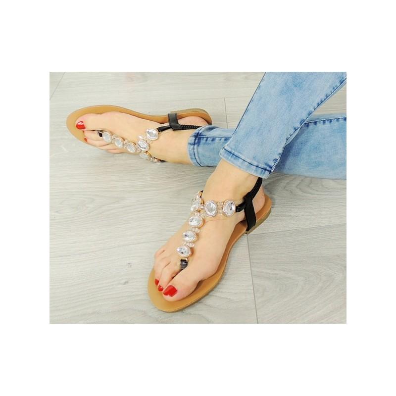 9694111611 Letné čierne dámske sandále s kamienkami - fashionday.eu