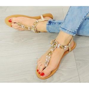 Dámske kamienkové sandále zlatej farby