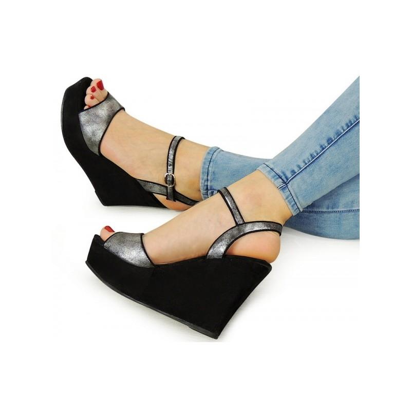 f92c3794f3 Letné dámske sandále na platforme čiernej farby - fashionday.eu