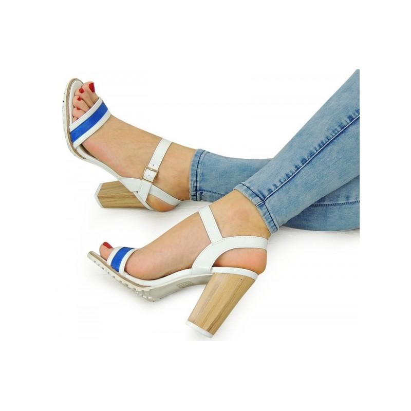 440db15562 Biele dámske sandále na vysokom podpätku - fashionday.eu