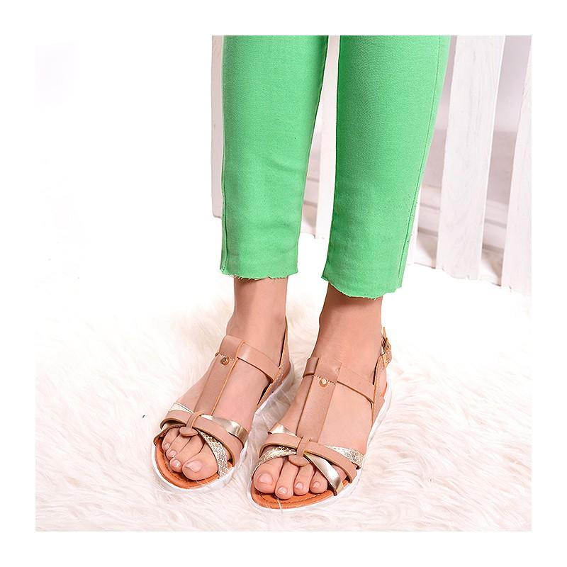 b058fac3267f Predchádzajúci. Béžové dámske sandále so zapínaním okolo členka ...