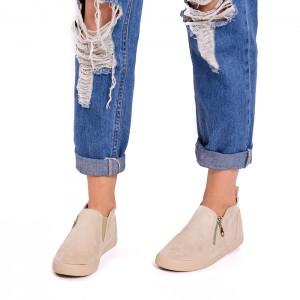 Béžové dámske topánky so zipsom